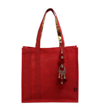 KIMMAYA canvas tote bag beach cotton summer handbag red indian hippy