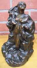 Antique KBW NUDE MAIDEN Bookend Decorative Art Statue Kathodion Bronze Works NY