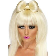 Womens Lady Pop Sensation Wig Blonde Long w Bow Music Fancy Dress Gaga Star Fun