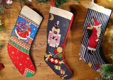 Beautiful Hand Carfted Fairy Clawn Santa Claus Needlepoint Christmas Stocking