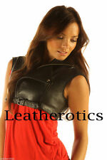 Waist Length Button Leather Casual Coats & Jackets for Women