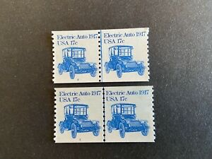 US Stamp 17 Cent Sc#1906 Electric Auto Coil Strip of 2 Plate 1 and Plate 2 MNH