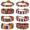 7 Chakra Natural Stone American Flag Bracelet Handmade Braided Rope Wrap Bangle