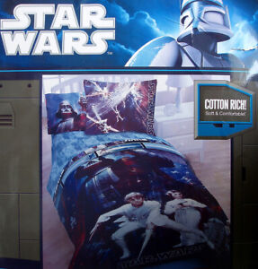 STAR WARS LUKE AND LEIA WITH DARTH VADER BLUE TWIN COMFORTER BEDDING NEW