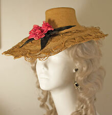 Unique 1880's Woven And Braided Golden Straw Hat With Flower