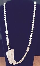 Rose Quartz Hand Knotted Necklace With Gold Beads And Cleopatra Egyptian Nos