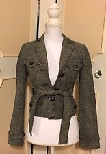 BCBG MAX AZRIA TRANSITIONAL BLACK/CREAM TWEED SEQUINS BELTED JACKET 00/XS/SMALL?