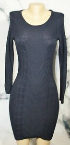 HOLLISTER Navy Blue Sweater Dress Large Long Sleeves Cotton Acrylic Blend