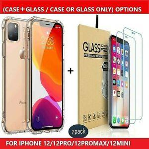 Case + Tempered Glass Screen Protector For iPhone 12ProMax,12Pro,12Mini,12