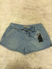 Guess IRIS Chambray Soft Denim Lyocell Shorts Belted Solid Dye Indigo 2