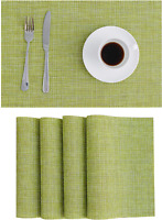 Set of 4 Placemats PVC Woven Washable Heat Resistant 17.7''x11.8'' Green