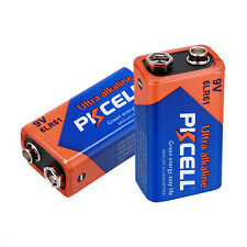 PKCELL ~ 2 PCS 9V Block Alkaline Battery 6LR61 6F22 9-V Block Batteries