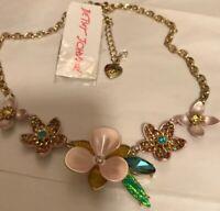 Betsey Johnson Beautiful Flower Pansy And Rhinestone Necklace