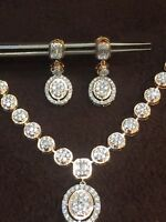 4.80 Cts Round Brilliant Cut Diamonds Necklace Earrings Set In 585 Fine 14K Gold