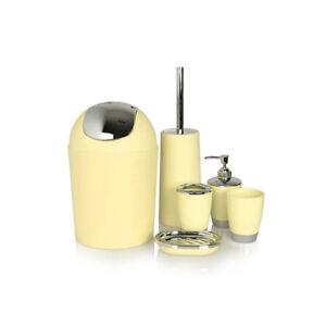 Practical 6pc Bathroom Accessories Set Bin Soap Dispenser Toothbrush Tumbler UK