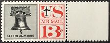 1961 13c Liberty Bell airmail single, Scott #C62, MNH, VF