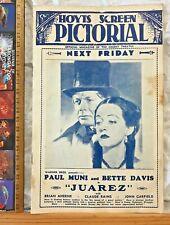 VINTAGE 1939 HOYTS REGENT AUSTRALIA MOVIE BROCHURE JUAREZ BETTE DAVIS PAUL MUNI