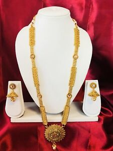 Bollywood Indian Bridal Temple Chain Necklace Earrings Jewellery Gold Set D6