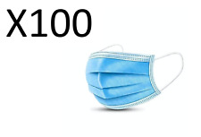 (Pack of 100) 3-Ply Face Mask, One Size Fits All, Disposable - Blue