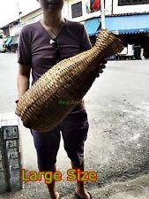 VINTAGE BAMBOO WICKER FISHING BASKET EEL FISH TRAP HANDMADE TRIBAL DECORATE HOME