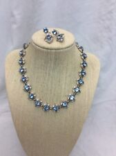 Stunning  vtg Bogoff Blue Clear Rhinestone Necklace clip earrings Set