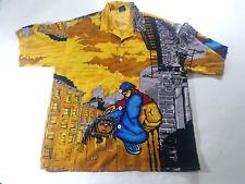 Chtte Men Rottweiler Anime Button Shirt Sz L Short Sleeve All Over Print Graphic