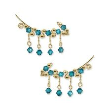 with Swarovski Blue Zircon Crystals #251 Ear Climber Ear Crawlers Sweeps Gold