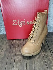Zigi Soho - Lace Up Ankle Boots - Size 7 - Tan - New w/ Box