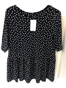 Ladies NEXT Navy And Cream Dot Peplum Top Size 16 New With Tags