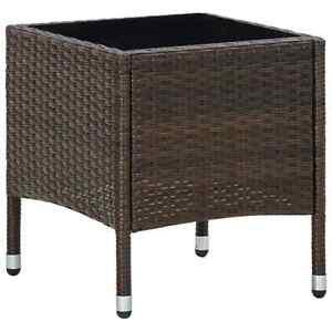 vidaXL Garden Table Brown 40x40x45 cm Poly Rattan Outdoor Furniture Side Table
