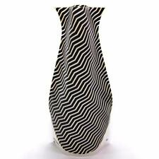 New Modgy BPA Free Plastic Expandable Decor Flower Vase Giza Black White 6 x 10
