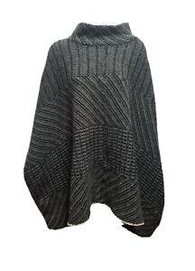 Lane Bryant Womens sweater poncho cape gray blanket ivory XL XXL 14/20 wool