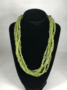 Silpada Sterling Silver 6-Strands Peridot Chips Necklace - N1402