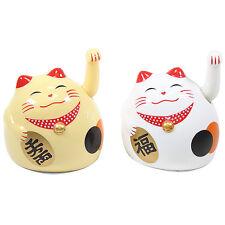 White & Gold Beckoning Fortune Cats Maneki Neko Toy Home Decor Business Gift