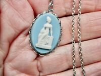 Vintage-1970's Silver Tone Chain w/Goddess Cameo Pendant/Necklace