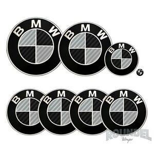 For BMW Badge Gloss Carbon Fibre Black & Silver All Models Decals Stickers Fiber