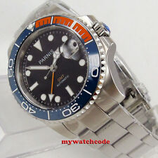 40mm PARNIS black dial Sapphire orange blue Ceramic bezel automatic mens watch