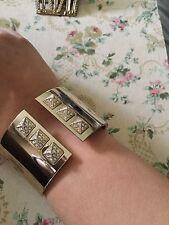 Fabulous! Victoria's Secret Pyramid Spoke Yellow Gold Hinge Cuff Bracelet