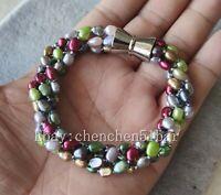 4 Stränge 4-6mm Mehrfarbig Barock Süßwasser Perle Twist Armband Magnetverschluss