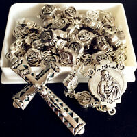 SILVER Italy Catholic Our Lady Of Mary baby Rosary Crucifix Cross necklace box