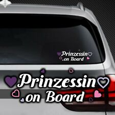 A106# Aufkleber Prinzessin on Board Kind an Bord Tour Baby Herz Kids Sticker