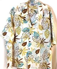 Hawaiian Shirt 4XL Pacific Legend Cruise Floral Coconut Cotton Tan Turquoise