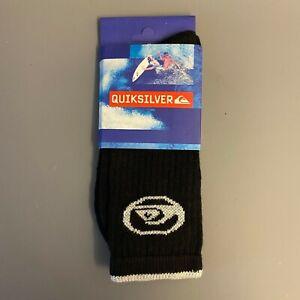 Quiksilver OG wave logo tipped sports socks black light grey size 41-43 90s surf