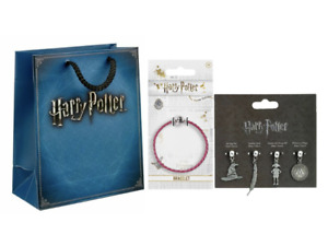 Official Harry Potter Pink Leather Charm Bracelet with Gift Bag and Charm Set