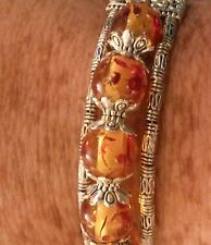 CB03 Adjustable Tibetan silver bracelet with amber beads GIFT BOXED Plum UK