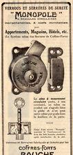 MONOPOLE SERRURE VERROU COFFRE FORT BAUCHE SAFE PARIS PUBLICITE 1929 FRENCH AD