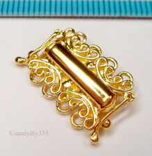 1x Real 18K GOLD plated STERLING SILVER 4-STRAND BUTTERFLY BOX CLASP G152