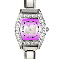 Maltese Dog Cubic Zirconia Ladies Stainless Steel Italian Charms Watch BJ1145