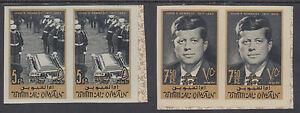 Umm Al Qiwain Sc 32-33 MNH. 1965 JFK Memorial, imperf sheet corner pairs
