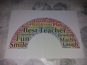 RAINBOW Word Art Print Teacher End of Term Gift Keepsake